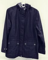 Free Country Women's L Faux Fur Lined Hooded Jacket Black with Purple EUC
