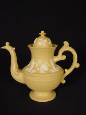 RARE 1800s ORNATELY DECORATED TEAPOT YELLOW WARE STAFFORDSHIRE MINT