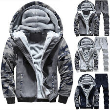 ba2cb035db5 Mens Camo Tracksuit Set Fur Fleece Hoodies Sweatshirt Top Bottoms Joggers  Gym UK