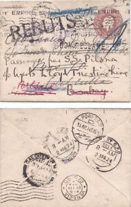 G.B. 1924 p.s. 3d envolope to ship and much travelled  {Below}
