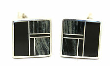 Vtg NAVAJO Modernist RAY TRACEY KNIFEWING Sterling Silver ONYX INLAY Cufflinks