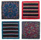 Mens SANTOSTEFANO Lot of 4 Paisley Striped 100 Woven Silk Handkerchief