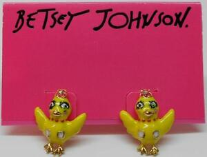 Betsey Johnson Garden Party Yellow Chickadee Gold Tone Easter Post Earrings