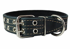 "Genuine Leather Dog Collar, Padded, 1.5"" Wide. Fits 14""-18"" Neck Size, Doberman"