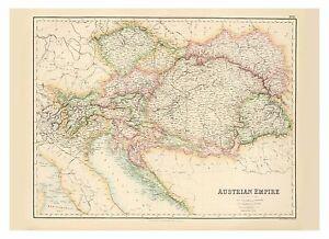 Old Vintage Decorative Map of Austrian Empire Hungary Fullarton 1872