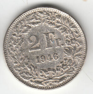 SWISS SILVER 2 FRANCS 1946                    123M           BY COINMOUNTAIN