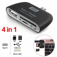 Universal 4 in1 Type-C Card Reader USB/TF/SD OTG HUB Adapter For Samsung Android
