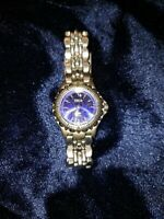 Fossil  watch women stainless steel band Blue Face glow in the dark hands