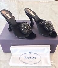 NIB PRADA RUNWAY VELVET CRYSTAL EMBELLISHED MEDALLION OPEN TOE MULE IT 38 US 8