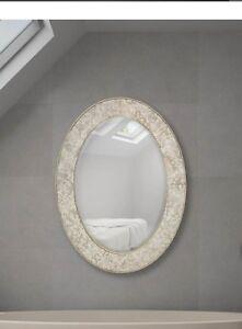 Majestic Oval Mirror, Antique Bright Silver Leaf Accent, 30x40