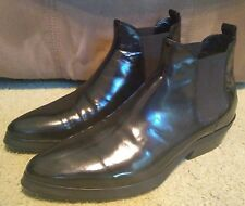 SZ 8 ITALY COSTUME NATIONAL HOMME BLACK PATENT LEATHER ANKLE BOOTS NEAR MINT