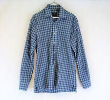Men's Hickey Freeman Blue Plaid Button-Front Collar Shirt - (Size - Medium)