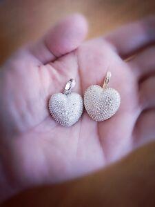 1.50Ct Diamond Heart Pendant with chain 14K Gold over Brilliant Diamonds
