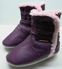 soft sole leather baby girl shoes booties purple 6-12m