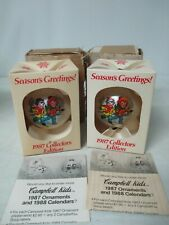 2 Campbell's Soup Kids Collector's Edition Glass Ball Ornament 1987 New In Box
