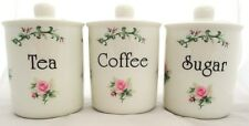 Majestic Rose Tea Coffee Sugar Canisters Bone China Jars Set Hand Decorated UK