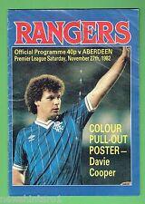 #D230.  GLASGOW  RANGERS FOOTBALL PROGRAM 27th Nov.1982, DAVIE COOPER CENTRE