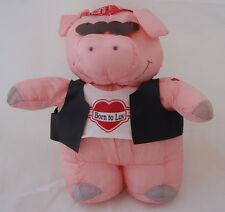 "Biker Pig Hog Pink Black Red Heart Sunglasses Born To Luv Hallmark Plush 13"" Toy"