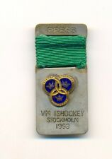 1963 Stockholm Sweden World Ice Hockey Championships official PRESS pin badge