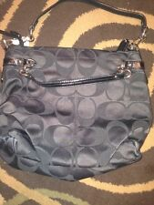Coach 17183 Signature Brooke Black Sateen Chainlink Tote Bag Purse