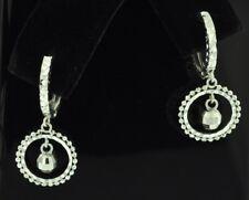 18k  solid white gold  hoop earring earrings diamond cut ball 1.80 grams #1616