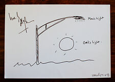 BILL WYMAN ~ MAN'S LIGHT ~RARE SIGNED PEN & INK CARTOON DRAWING ~ ROLLING STONES