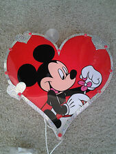 MICKEY MOUSE with FLOWER HEART SHAPED LIGHT UP VALENTINES DAY WINDOW DECORATION