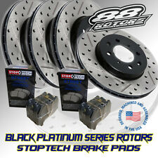 Front + Rear Drilled Slotted Black Platinum Series Rotors & Stoptech Brake Pads