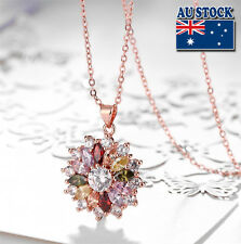 18K Rose Gold Filled multi color Cubic Zirconia Crystal Flower Pendant Necklace