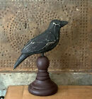 "Внешний вид - Grubby Primitive carved Wood Crow Raven Pedestal Spindle Halloween Figure 8"""