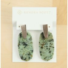 Kendra Scott Aragon Rhodium Plated African Turquoise Drop Dangle Earrings 2 NWT