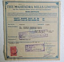 Vtg Share Certificate signed The Mahendra Mills Limited