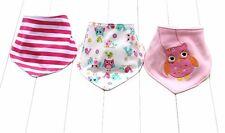 Bandana Dribble Bibs Girls 3 pcs Baby/Toddler triangle Pink Owl