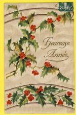 CPA POSTKARTE toilée BONNE ANNÉE 1907 de Georgette MALFROY à Alice DUPUIS