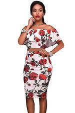 Abito set Top gonna Stampa Floreale Cocktail Party Cerimonia Roses Print Dress S
