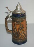 Rare belle belle chope à bière à châpeau au décor chasse en retief . W germany .
