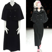 new YOHJI YAMAMOTO black wool capelet layered double breasted full coat JP1 S