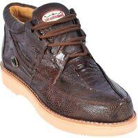 Los Altos Genuine BROWN Ostrich Leg Casual Shoes Lace Up EE