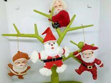 1970s kitsch VINTAGE flocked Santa gripper Father Christmas tree  decorations