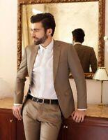 Khaki Men Slim Fit Suit Casual Business Formal Tuxedo Prom Party Dinner Suit