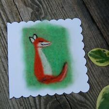 Handmade Needle Felt Blank Greetings Card or Picture To Frame - fox