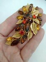 Vintage Signed Sphinx Topaz Citrine Glass Gold Tone Flower Statement Brooch Pin