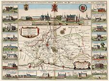 MAP ANTIQUE YPRES BELGIUM NETHERLANDS CITY PLAN SURROUND ART POSTER PRINT LV2143