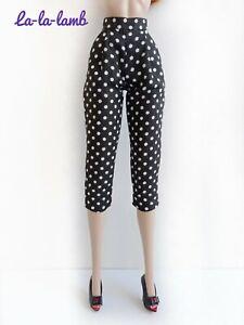 "La-la-lamb Black and white polka dot breechs Fashion Royalty FR2, NF 12""doll"