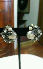 Vintage DeMario Clip Earrings Baroque Pearl Rhinestones Leaves Silvertone Rare