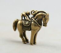46MM Chinese Fengshui Bronze 12 Zodiac Monkey Ride Horse Amulet Pendant Statue
