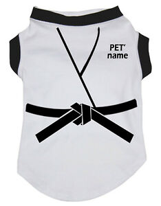 Personalize Judo White Cotton Top T-Shirt Pet Cat Dog Puppy One Piece Clothes