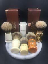 VTG Shaving Brushes Boar Badger USA England Germany 5 Total W/boxes & Tube