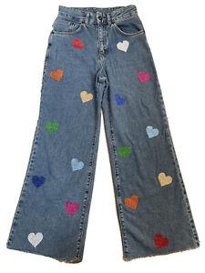 "The Ragged Priest Blue Glitter Heart Jeans Size 26 L26"" Wide Leg High Waist Crop"