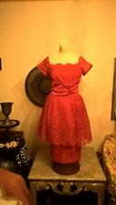 VINTAGE LINED RED LACE & SATIN EVENING/COCKTAIL DRESS - SIZE 8-10